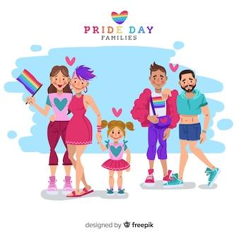 Casais e famílias do dia do orgulho