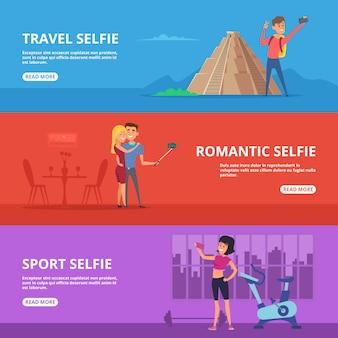 Casais e personagens felizes fazendo selfie