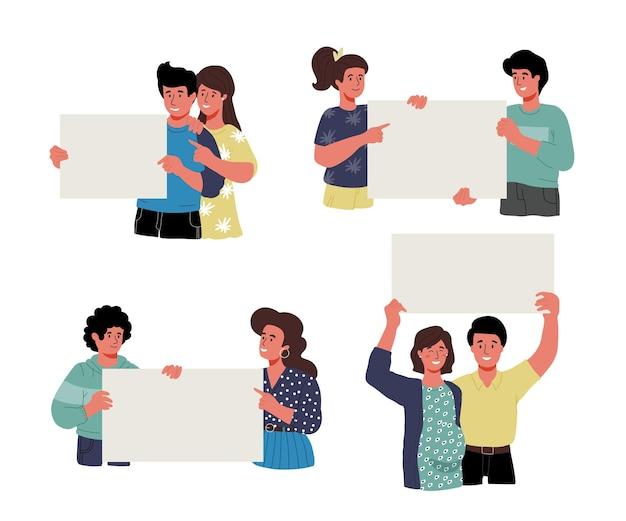 Casais e pessoas um a um, segurando cartazes, faixas, cartazes pedindo vacinação, diferentes, tipos de pele, indivíduos. ilustração plana em vetor moderno.