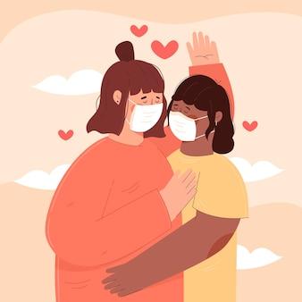 Casais em apartamento se beijando com ilustração de máscara cobiçosa