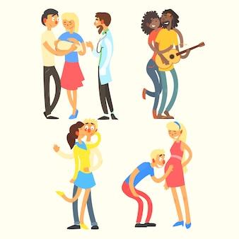 Casais em atividades de amor, ilustração