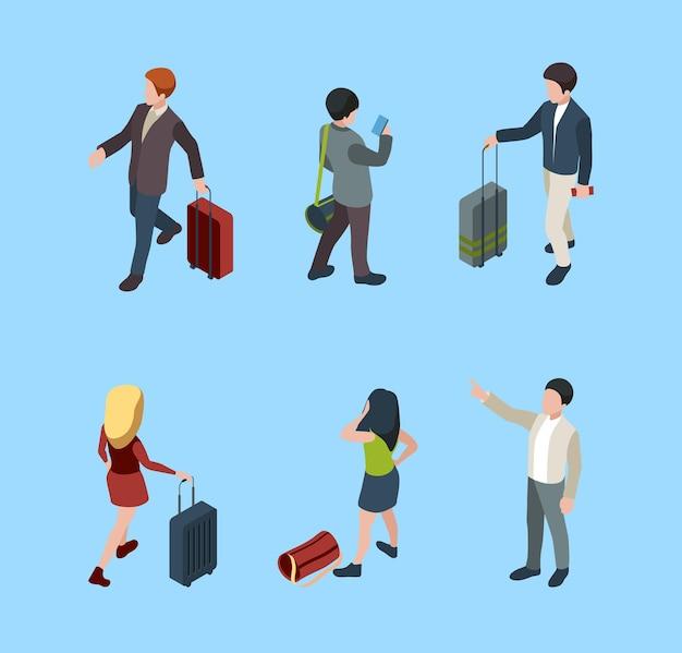 Casais familiares com turistas de bagagem com pessoas de bagagem em várias poses.