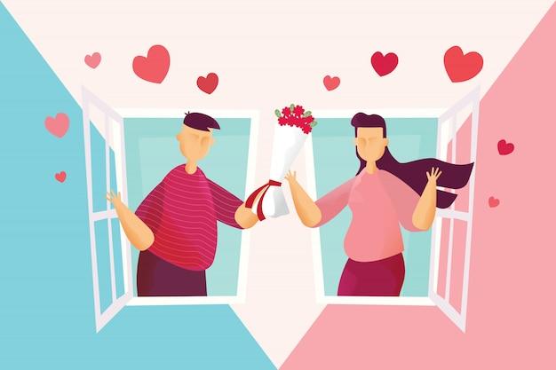 Casais felizes lindo homem está segurando rosas dar mulheres na janela no festival de dia dos namorados.
