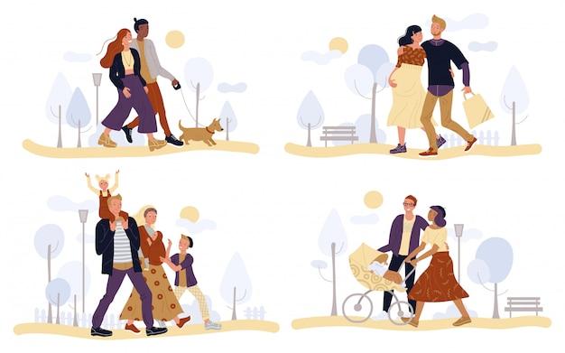 Casais ilustração, famílias andando parque