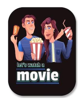 Casais íntimos vão assistir filmes e pedir ingressos