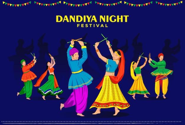 Casais jogando garba no evento noturno dandiya feliz navratri