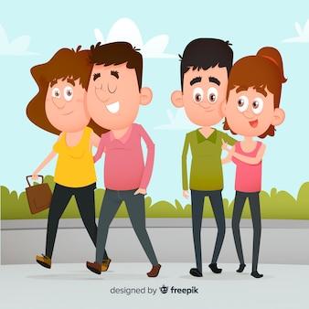 Casais jovens caminhando juntos e sorrindo