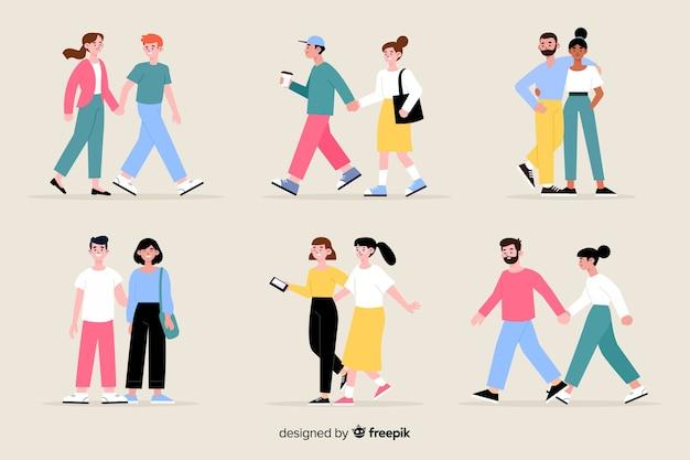 Casais jovens caminhando juntos ilustração