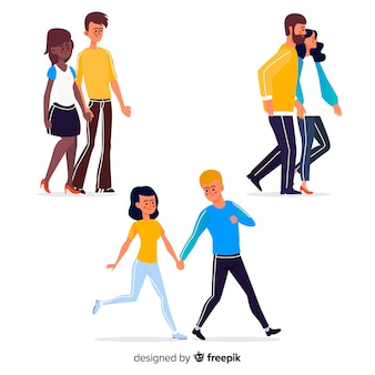 Casais jovens caminhando juntos ilustrados