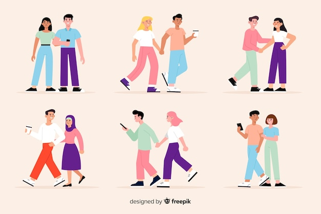 Casais jovens caminhando juntos