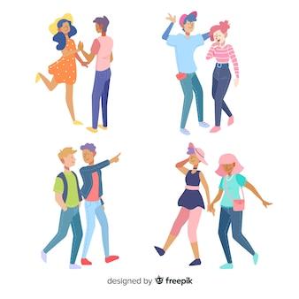 Casais jovens coloridos caminhando juntos