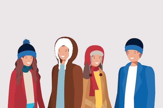 Casais jovens com personagens de roupas de inverno