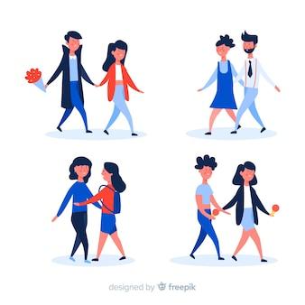 Casais jovens desfrutando de caminhar juntos