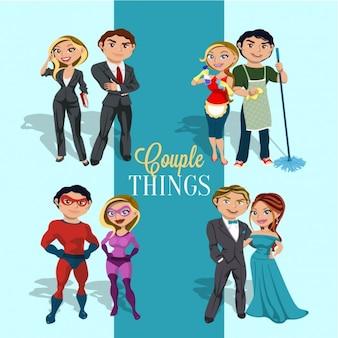 Casais jovens no estilo comic