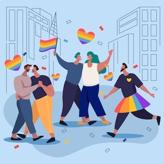 Casais na cidade comemorando o dia do orgulho