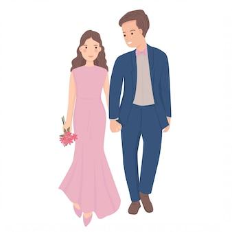Casais na ilustração de encontro romântico