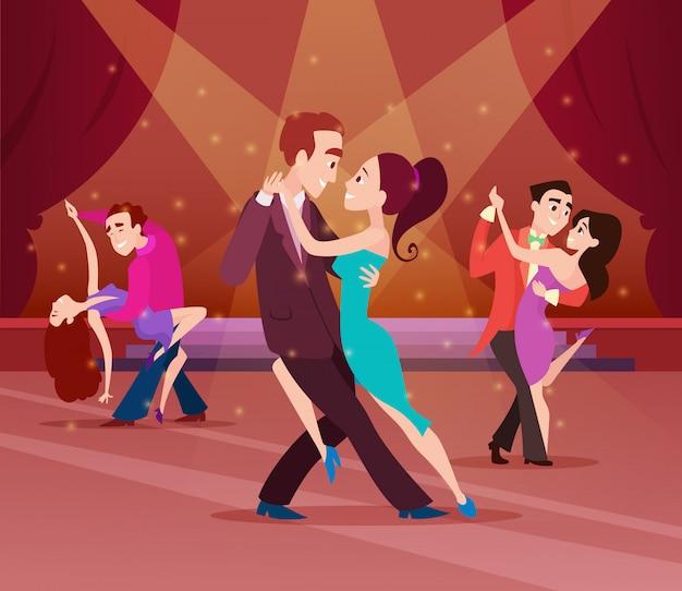 Casais na pista de dança