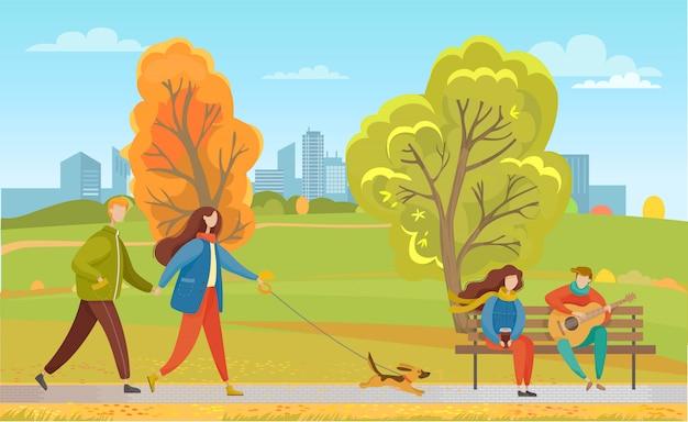 Casais no parque da cidade de outono, passear com animais de estimação juntos