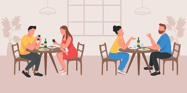 Casais num encontro em ilustração vetorial de cor lisa de café. namorado e namorada conversando à mesa. faça parceria com telefones. dois grupos de personagens de desenhos animados 2d com interior de cafeteria no fundo