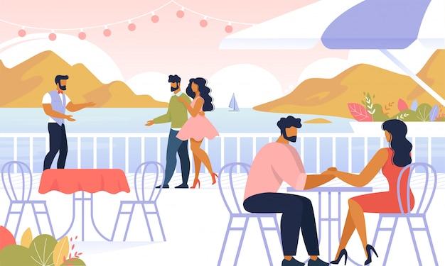 Casais relaxantes ao ar livre, sentar no café ao ar livre,