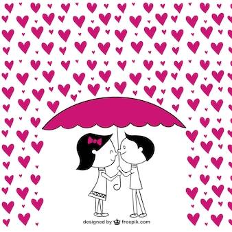 Casais românticos com corações