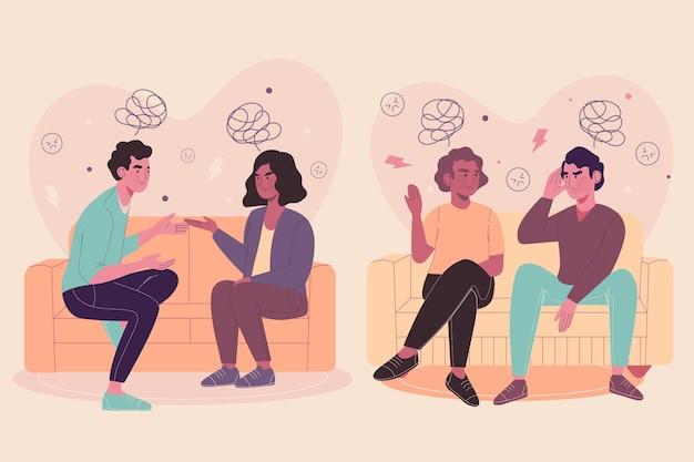 Casais sentados em sofás e brigando