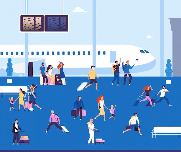 Casais turistas com mala esperando andando no terminal do aeroporto