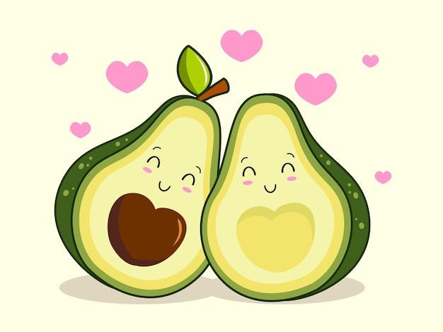 Casal abacate ama desenho kawaii