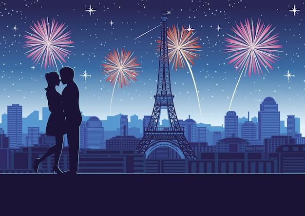 Casal abraço juntos perto do topo da torre