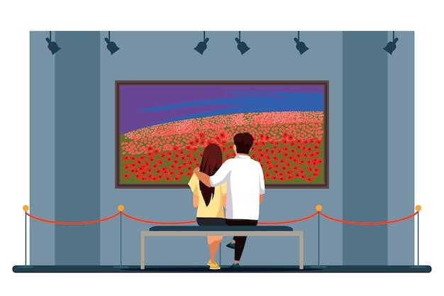 Casal admira a pintura de um campo de flores na galeria de arte, amando o homem, mulher, abraçando-se sentado no banco e olhando para uma foto de paisagem natural
