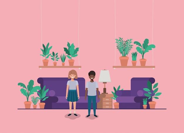 Casal adolescente na sala de estar