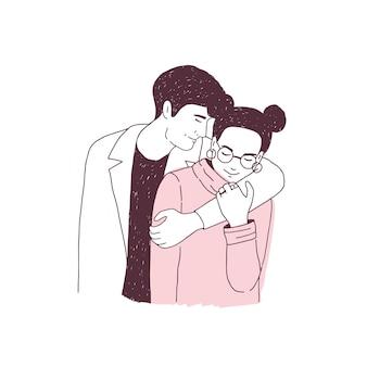 Casal adorável num encontro romântico. jovem, abraçando a mulher de óculos.