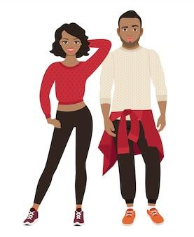 Casal africano em roupa de estilo de esportes. ilustração vetorial