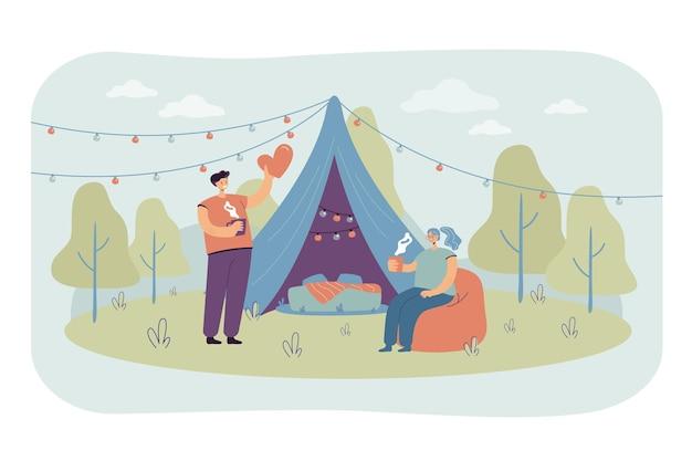 Casal alegre acampando juntos em ilustração plana de natureza isolada
