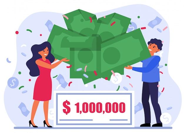 Casal alegre, ganhar dinheiro prêmio