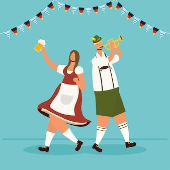 Casal alemão vestindo terno tirolês, bebendo cerveja e tocando trompete design de ilustração vetorial