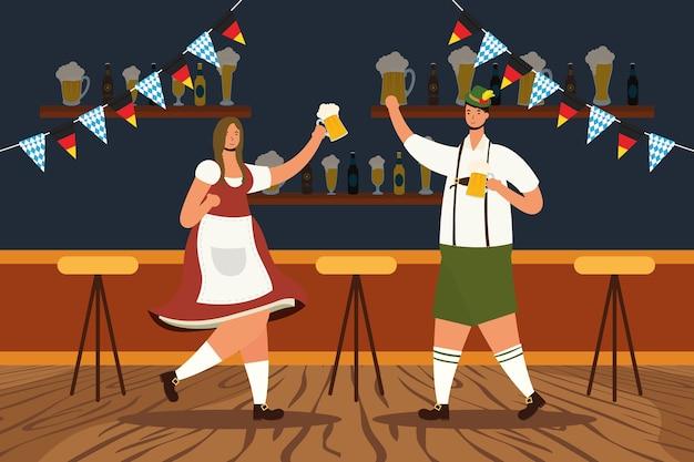Casal alemão vestindo terno tirolês bebendo cerveja personagens ilustração vetorial design