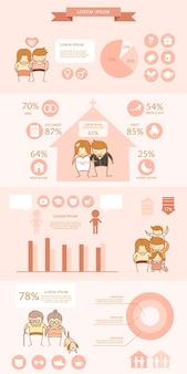 Casal amor infográfico de despesa de vida