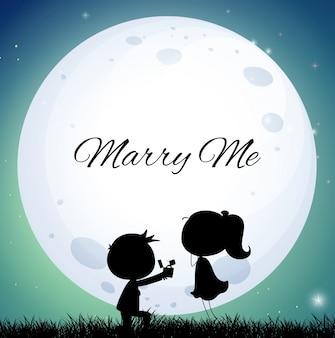 Casal amoroso que propõe o casamento na noite da lua cheia