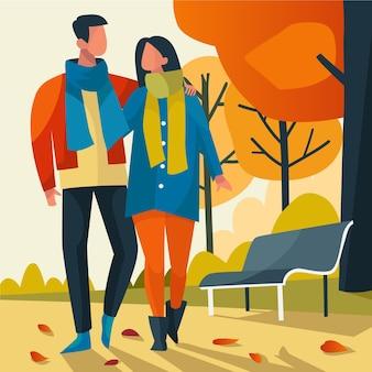 Casal andando na ilustração de outono