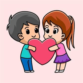 Casal apaixonado abraça o coração juntos ilustração dos desenhos animados