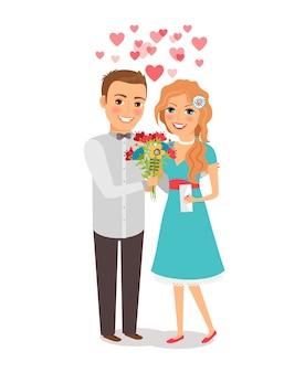 Casal apaixonado. amantes homem e mulher com um buquê de flores. ilustração vetorial