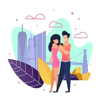 Casal apaixonado andando ao longo da cidade rua plana dos desenhos animados