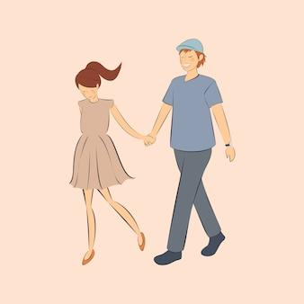 Casal apaixonado andando de mãos dadas segurando a mão juntos