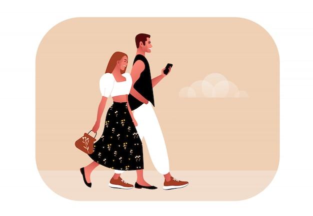 Casal apaixonado andando estilo simples