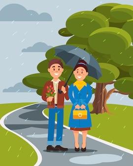 Casal apaixonado andando sob o guarda-chuva no parque de verão ilustration