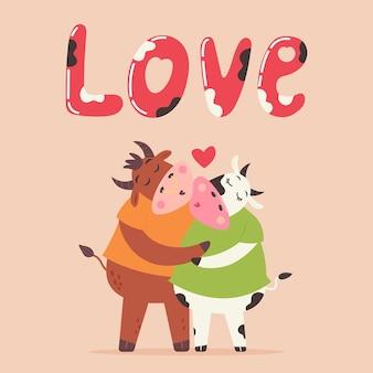 Casal apaixonado beijo touro e vaca