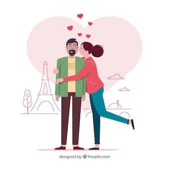 Casal apaixonado em paris com design plano