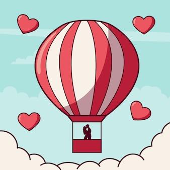 Casal apaixonado em um balão de ar quente