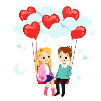 Casal apaixonado está flertando e sorrindo. menino e menina estão no balanço com balões de ar em forma de coração.